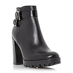 Dune - Black 'Pettle' buckle detail block heel ankle boot