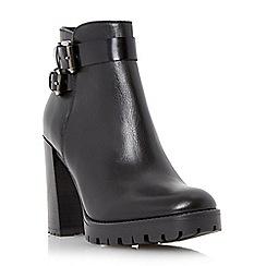 Dune - Black 'Pettle' buckle detail block heel ankle boot
