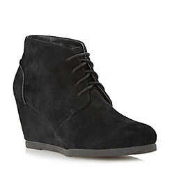 Dune - Black crepe sole wedge desert boot