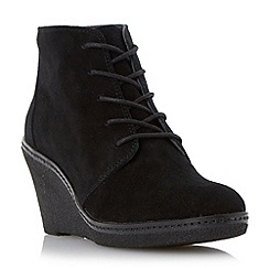 Dune - Black wedge heel lace up ankle boot