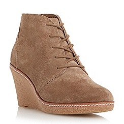 Dune - Brown wedge heel lace up ankle boot