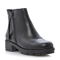 Dune - Black chunky cleated sole leather ankle boot