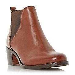 Dune - Tan 'Parnell' punch hole detail leather chelsea boot