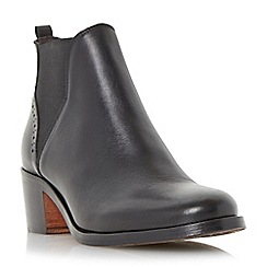Dune - Black 'Parnell' punch hole detail leather chelsea boot