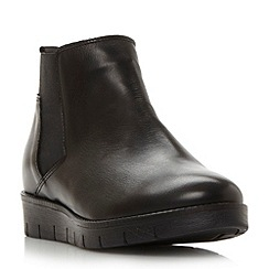 Dune - Black 'Paden' flatform leather ankle boot