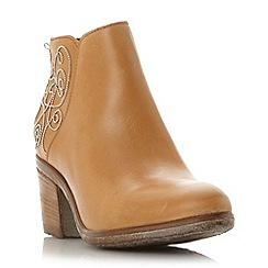 Dune - Tan 'Patty' embellished leather ankle boot