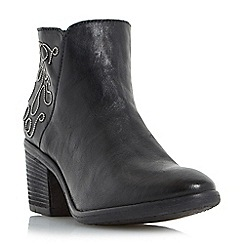 Dune - Black 'Patty' embellished leather ankle boot