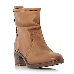 Dune - Brown ruched leather ankle boot