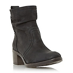 Dune - Black 'Polizzi' ruched leather ankle boot