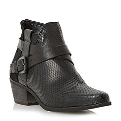 Dune - Black-reptile 'Peeps' mixed material crossover strap ankle boot