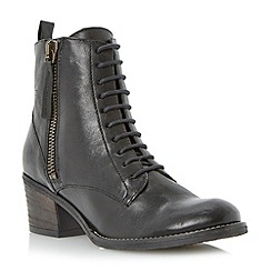 Dune - Black zip detail heeled leather lace up boot