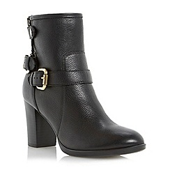 Dune - Black heeled buckle trim leather calf boot