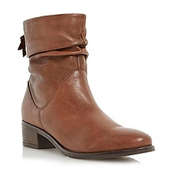 Dune - Tan ruched leather block heel ankle boot