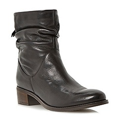 Dune - Black ruched leather block heel ankle boot