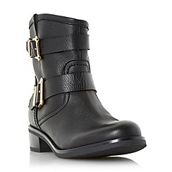 Dune - Black 'Philee' buckle detail leather ankle boot