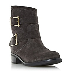 Dune - Dark grey 'Philee' buckle detail leather ankle boot