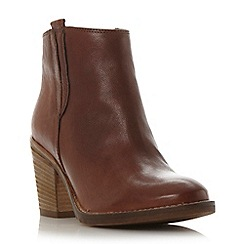 Dune - Tan 'Poppie' block heel leather ankle boot
