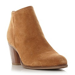 Dune - Tan 'Princeton' back zip ankle boot