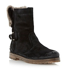 Dune - Black distressed faux fur lined ankle boot