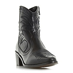 Dune - Black 'Reno' stitch detail leather western ankle boot