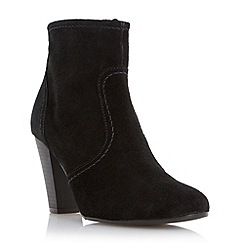 Dune - Black-suede 'Portia' stacked heel ankle boot