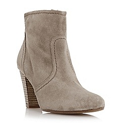 Dune - Taupe-suede 'Portia' stacked heel ankle boot