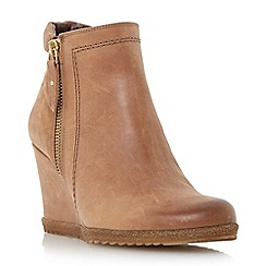 Dune - Tan 'Pacino' zip detail wedge boot