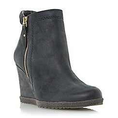 Dune - Black 'Pacino' zip detail wedge boot