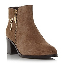 Dune - Taupe 'Pemberley' zip detail pointed toe ankle boot