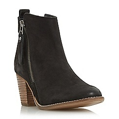 Dune - Black 'Pontoon' stacked heel side zip ankle boot
