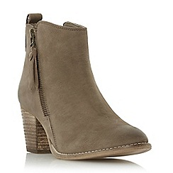 Dune - Taupe 'Pontoon' stacked heel side zip ankle boot