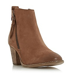 Dune - Tan 'Pontoon' stacked heel side zip ankle boot