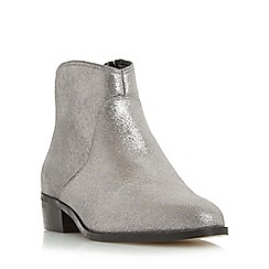 Dune - Silver 'Pearcey' pointed toe ankle boot