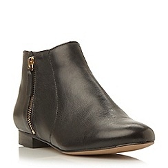 Dune - Black side zip leather pixie boot