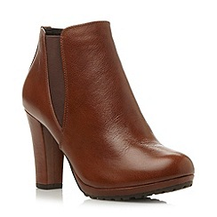 Dune - Tan cleated sole heeled chelsea boot