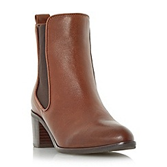 Dune - Tan 'Quaide' leather mock croc heeled chelsea boot