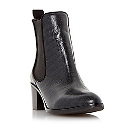 Dune - Black 'Quaide' leather mock croc heeled chelsea boot