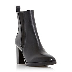 Dune - Black 'Prescott' square toe heeled leather chelsea boot
