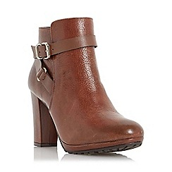 Dune - Tan-leather 'Puggy' strap and buckle detail leather ankle boot