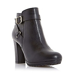 Dune - Black-leather 'Puggy' strap and buckle detail leather ankle boot