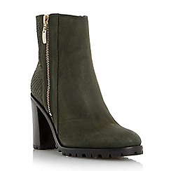 Dune - Khaki 'Prett' cleated sole heeled ankle boot