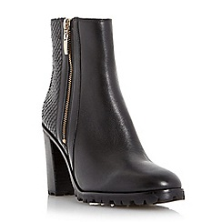 Dune - Black 'Prett' cleated sole heeled ankle boot