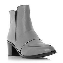 Dune - Grey leather loafer boot