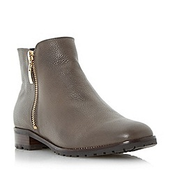 Dune - Grey 'Porta' cleated sole side zip ankle boot