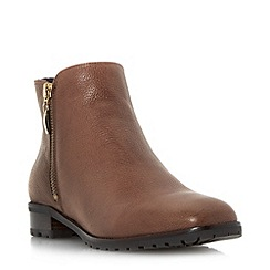 Dune - Tan 'Porta' cleated sole side zip ankle boot