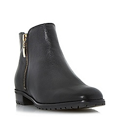 Dune - Black cleated sole side zip ankle boot