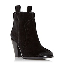 Dune - Black 'Peridot' side tab suede ankle boot