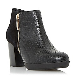 Dune - Black 'Quince' mix material side zip ankle boot