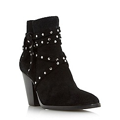Dune - Black 'Payten' suede studded strap ankle boot