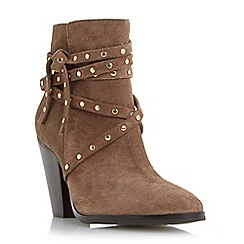 Dune - Taupe 'Payten' suede studded strap ankle boot